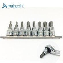 Mainpoint 8Pc Hex Bit Socket Allen Key Ratchet Drive Adapter Set 3/8″Socket Wrench Car Hand Tools Repair Kit Cr-V Steel Bits