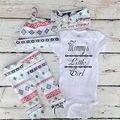 3pcs Newborn Baby Girl Clothes Mommy's Little Girl Romper Floral Leggings Pants Headband Outfit Bebek Clothing Set