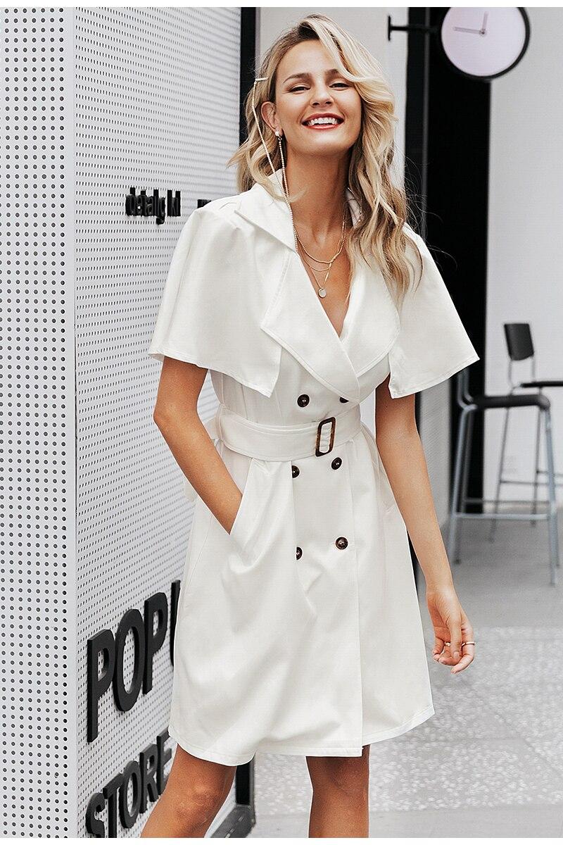 Simplee Solid ruffled sleeve women blazer dress Elegant sash belt office ladies trench dress V-neck shawl party dress vestidos 6