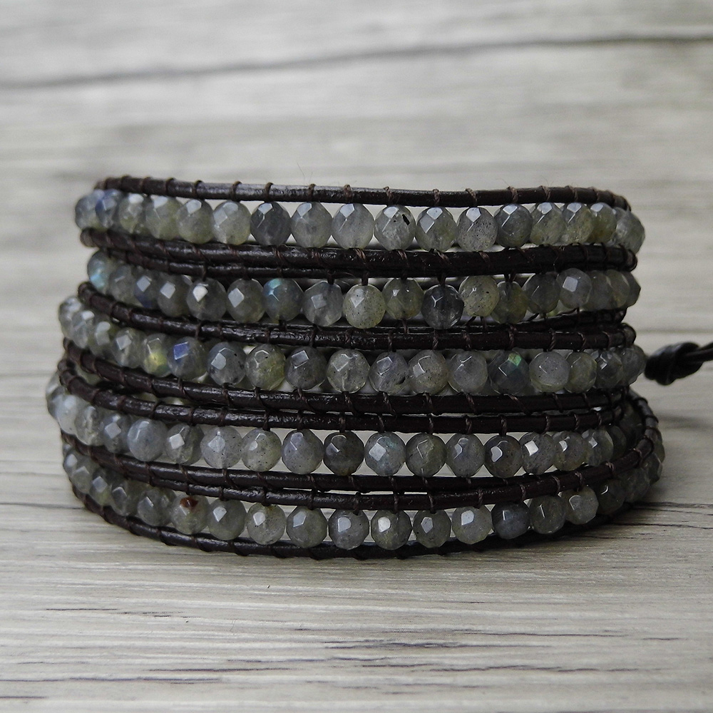 Perles grises BOHO 5 enveloppes Bracelet labradorite bracelet en cuir Wrap pierre de lune bracelet perle wrap labradorite bijoux