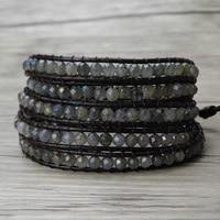grey beads BOHO 5 Wraps Bracelet labradorite bracelet Leather Wrap Moonstone wrap bracelet bead wrap labradorite Jewelry
