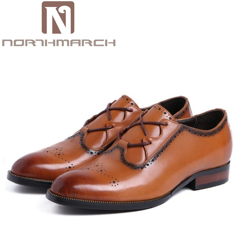 NORTHMARCH Genuine Leather Mens Loafers Fashion Carved Hollow Leather Men Dress Shoes High Quality Man Flats Shoes for Wedding цена