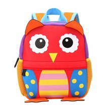 Children 3D Cute Animal Design Backpack Toddler Kid Neoprene School Bags Kindergarten Girls Boys Cartoon Zoo Pack Dog Monkey Owl(China)