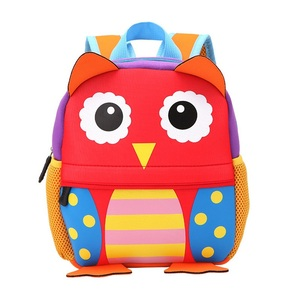 Children 3D Cute Animal Design Backpack Toddler Kid Neoprene School Bags Kindergarten Girls Boys Cartoon Zoo Pack Dog Monkey Owl