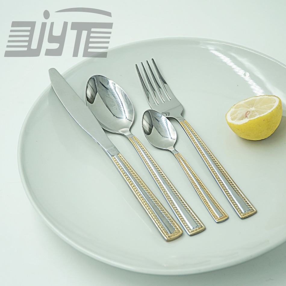 Golden Border Quality Eco friendly Stainless Steel Flatware Set 24 Pieces Spoon font b Knife b