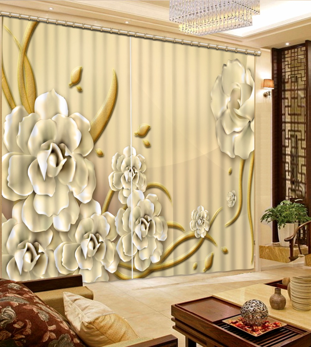 New Custom 3D Beautiful Printed Curtain Relief, White Flower Blackout Shade Window Curtains Window Curtain Living Room