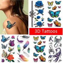 Hot Sale Beautiful flower fruit butterfly animal insect 3D 9 X 19 CM Temporary Tattoo Stickers Body Art Waterproof