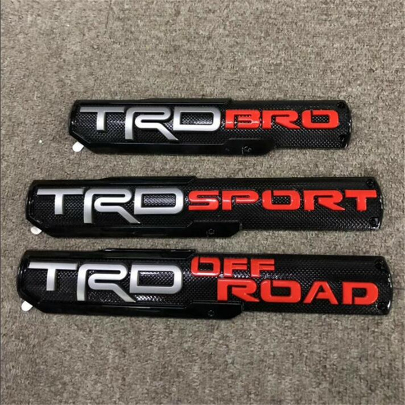Set 3 Silver Tundra 4 Runner Tacoma TRD PRO Side Trunk Badge Emblem For Toyota