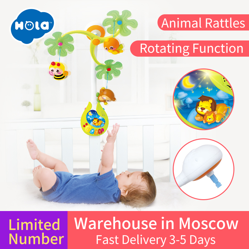 HUILE TOYS 818 Baby Toys Nursery Cot Mobile with Musical Lullaby Sounds Rattle Rotating Recreation Ground Bed Bell 0-12 Months new rotating children plastic crib toy musical mobile multinational musical bed bell baby toys baby rattle rotating with animals