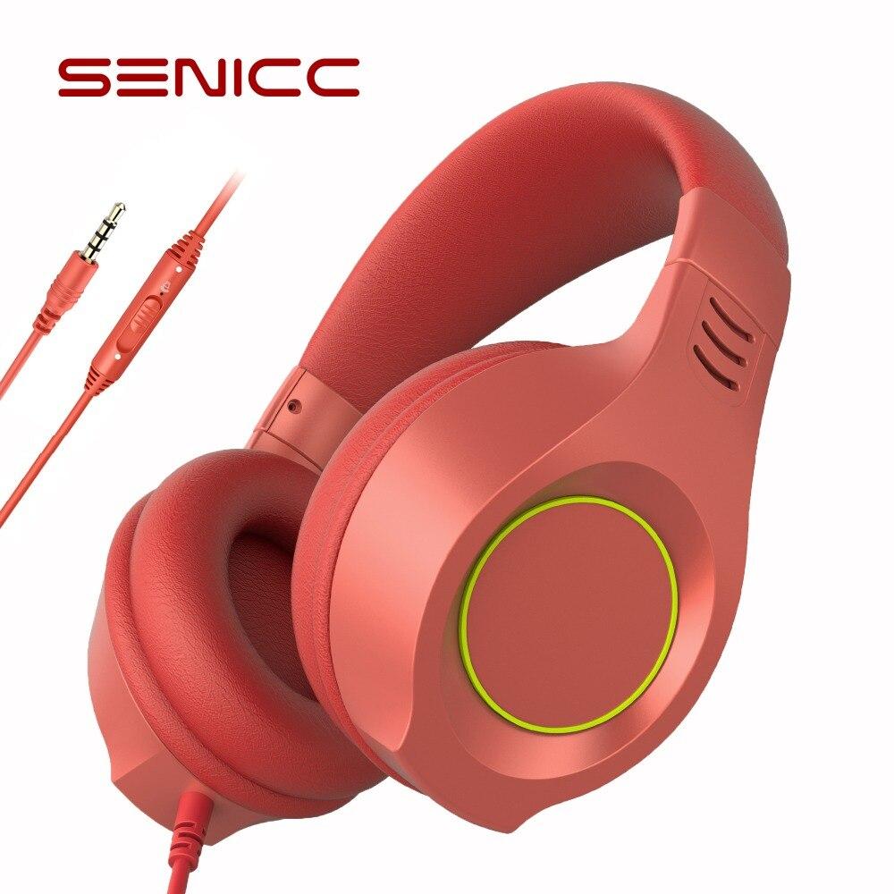 SENICC A2I PS4 Gaming Fones De Ouvido Baixo Forte Música Menina Miúdo Pressão Zero de fone de Ouvido Cabeça com Microfone para Phone Pad PS4