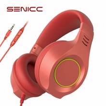 SENICC A2I PS4 Gaming Headphones Strong Bass Music Girl Kid Headset Zero Pressure Headband with Mic for Phone Pad