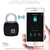 Waterproof Anti theft Bluetooth APP Pad lock Code Fingerprint Padlock Luggage BikeBicycle Bluetooth Cabinet Lock