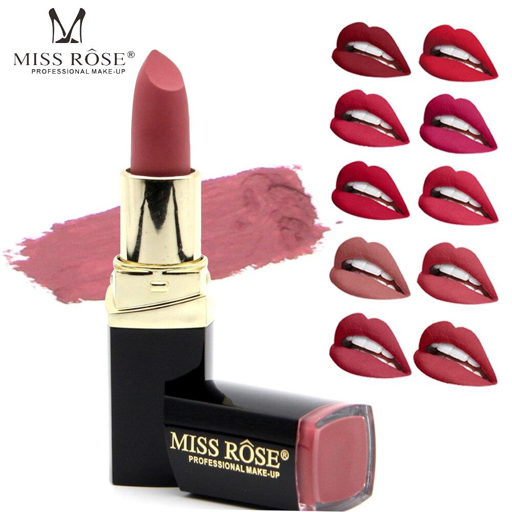 New Brand Lipstick Cosmetics 18 Color Pigments Lip Stick Matte Makeup Long Lasting Nude Matte Miss Rose Lipstick Waterproof Lips