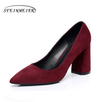 High Heels Women Suede Rough Square 8 5cm Heel Lady OL Single Shoes US8 5 Point