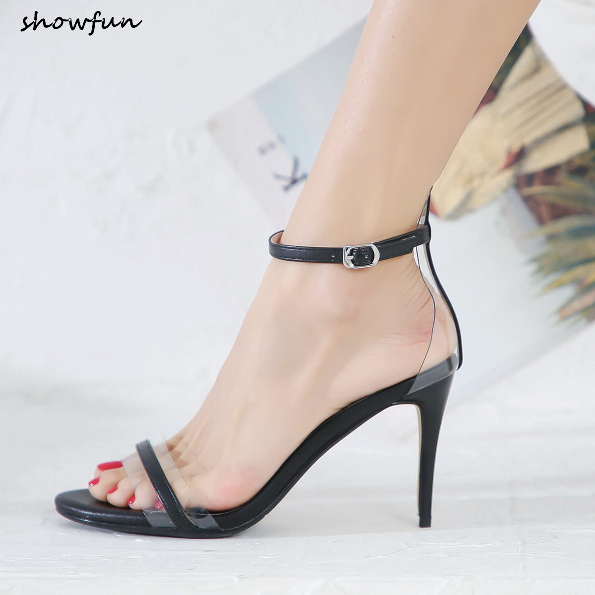 Women s genuine leather ankle strap high heel sandals open toe summer sexy ladies dress shoes
