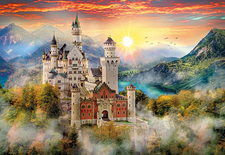 Scenery Needlework,Swan Castle View 14CT Handwork Counted 