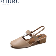 MIUBU Summer Women Sandals High Quality Comfortable Leather Flat Breathable Lady Shoes
