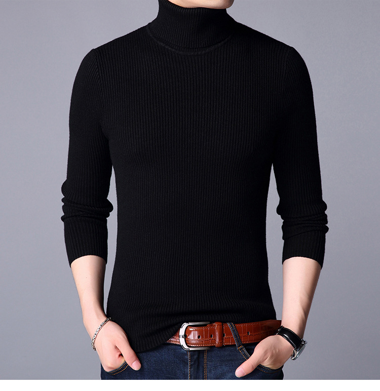 Spring Turtleneck Sweater Men Casual Knitted Sweaters Long Sleeve Pullovers Men zipper Christmas Sweater Tops ...