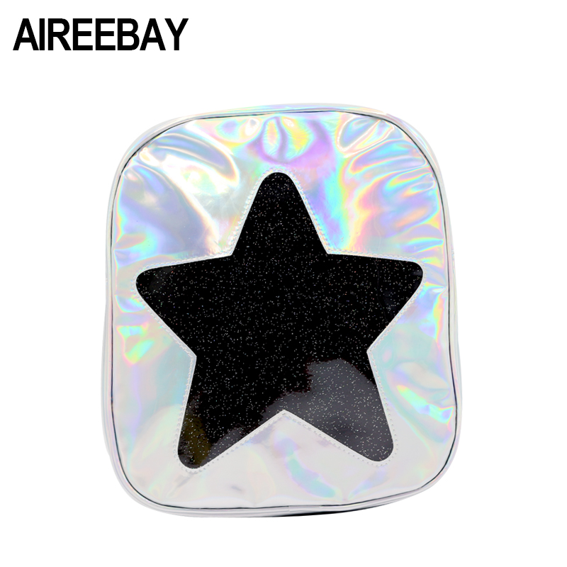 2b9ad16818bc AIREEBAY Cute Clear Transparent Backpack Laser Ita Bag Harajuku Small  School Bags Star Shape Holographic mini