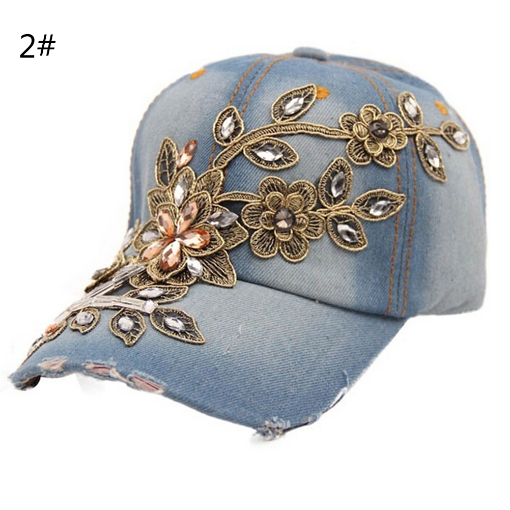 Adjustable Casual Full Crystal Floral Denim Baseball Cap Bling Rhinestone Hip Hop Snapback Hat For Women Beneficial To The Sperm Apparel Accessories