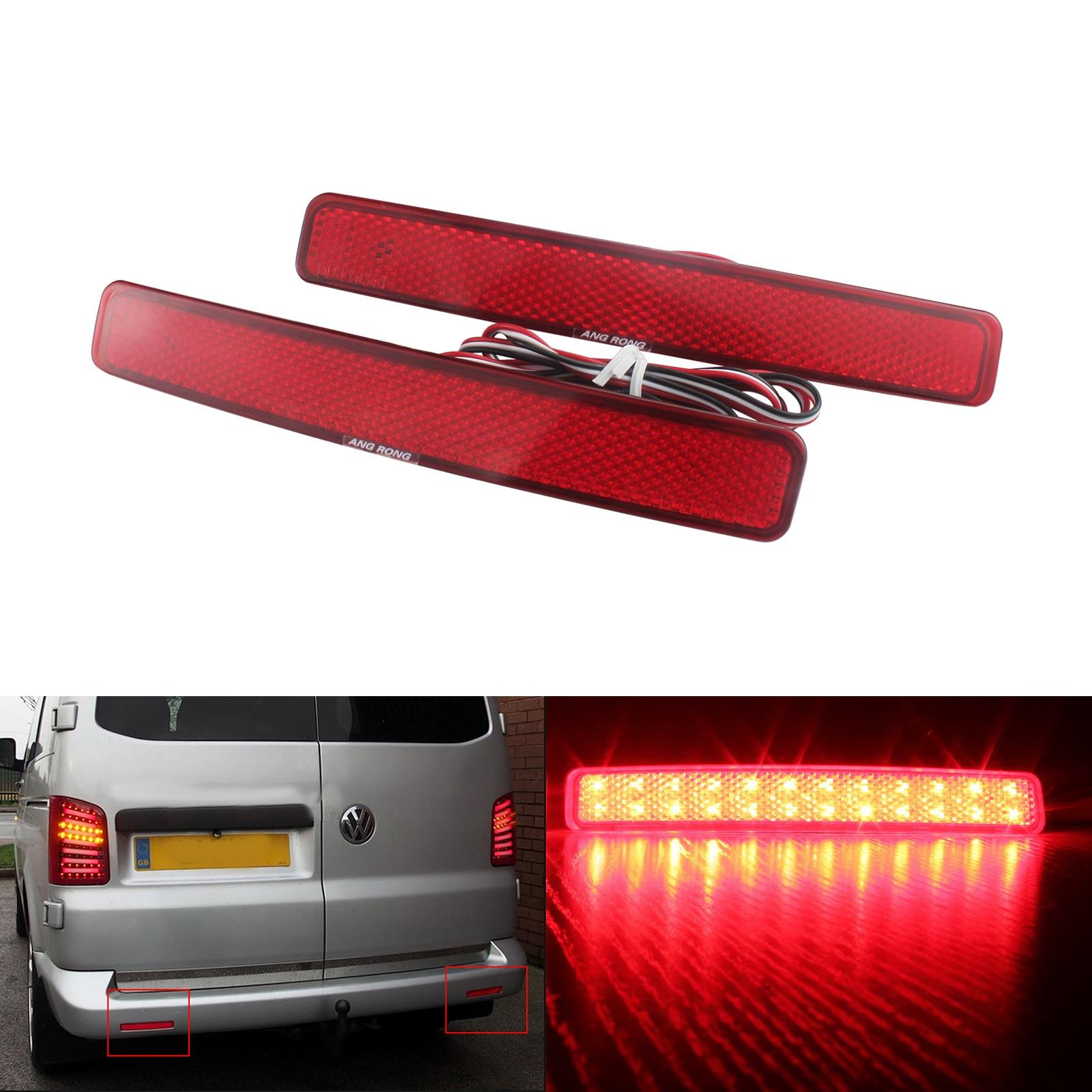 VW Transporter T5 Red Lens LED Rear Bumper Reflector Reverse Brake Stop Light