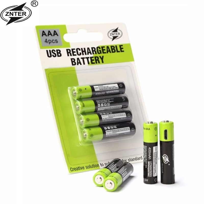 ZNTER 1.5 V 400 MAH ミルコ USB 充電式バッテリー単四電池おもちゃ RC コントローラ電池リチウム電池ドロップ無料