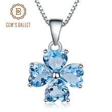 GEMS BALLETT 0,95 ct Natürliche Swiss Blue Topaz Clover Design Reine 100% 925 Sterling Silber Anhänger Halskette Für Frauen Geschenk
