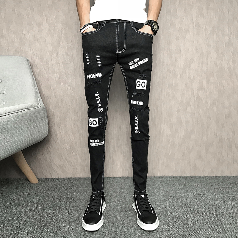Korean Summer Jeans Men Brand New Denim Men Pants Slim Fit Simple Hip Hop Ripped Men Jeans Letter Casual Men Trousers Black 33 ...