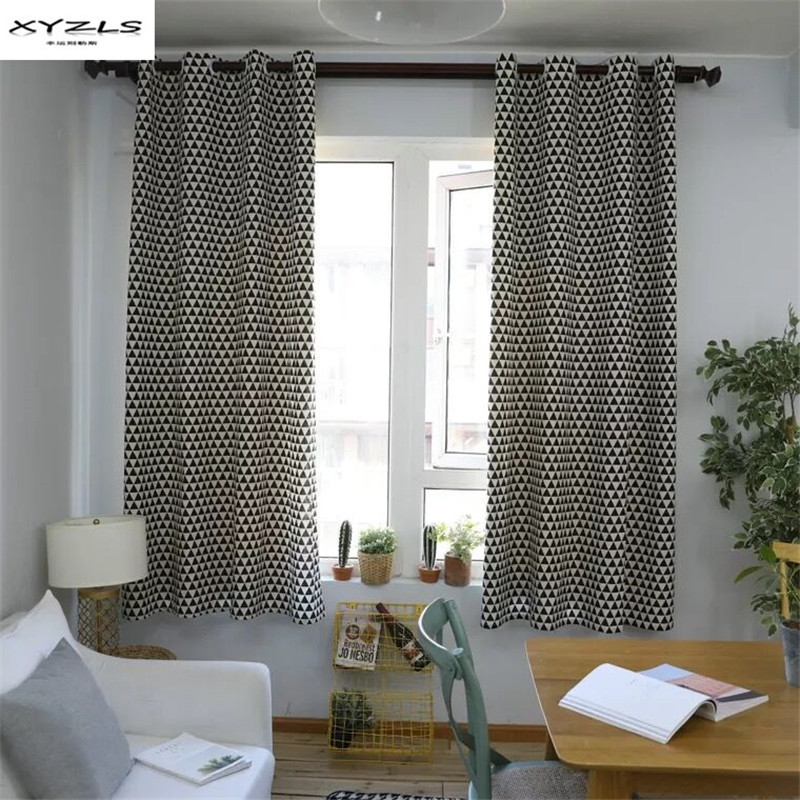 XYZLS Modern Black And White Geometric Pattern Curtains