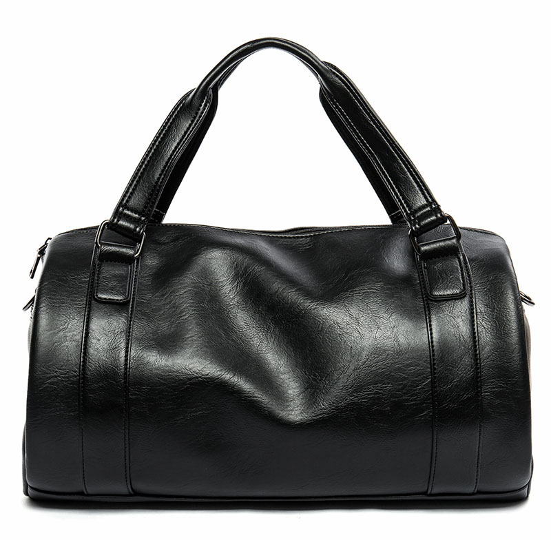 GUMST New Men Travel Duffle Bag PU Leather Mens Travel Bags Black Shoulder Handbag Bucket Shape Messenger Bag