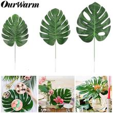 OurWarm 12x Artificial Tropical Palm Leaves Fake Monstera Green Plants for Home Kitchen Party Decorations Handcrafts Wedding DIY