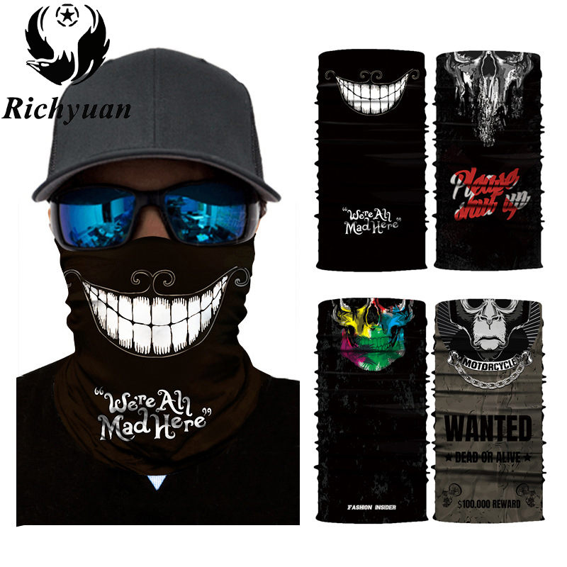 3D Seamless Balaclava Magic Scarf Neck Face Mask Ghost Skull Skeleton Head Bandana Shield Headband Headwear Bandana Men Bicycle miracool neck bandana re usable 100 s of times keeps you cool red 2 pack