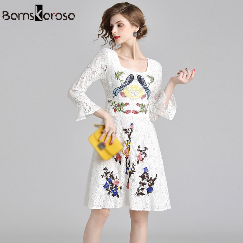 New Autumn Runway Dress Women vestidos mujer 2018 Sweet Floral Embroidery White Lace Dress Elegant Female Short Party Dresses