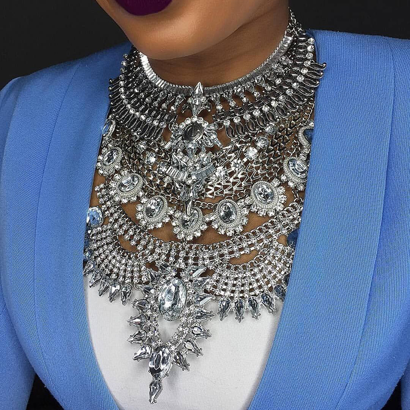 Miwens 2019 Collar Za Necklaces & Pendants Vintage Crystal Maxi Choker Statement Silver Collier Necklace Boho Women Jewelry 7001