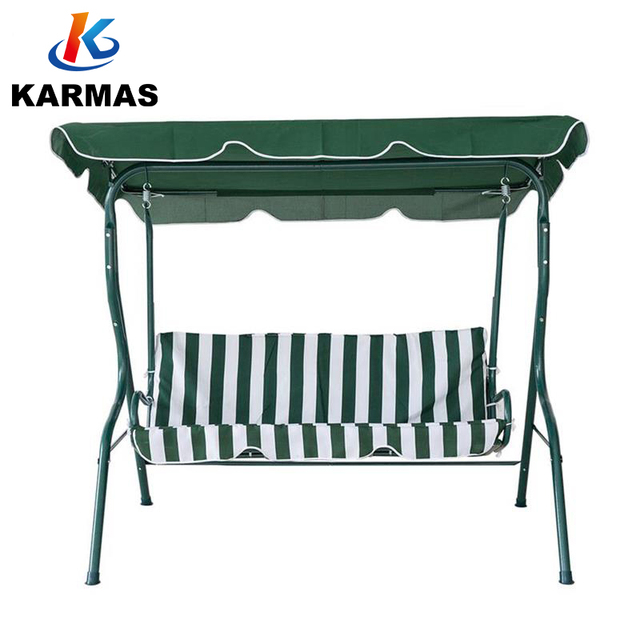 Karmasfar Outdoor Stripe Swing 3 Seats Canopy Chair Garden Backyard Porch Cushioned Furniture