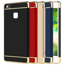 Case For Huawei P 9 P9 Lite 360 Degree Protection Phone Bag PC Luxury 3 in 1 Gold Brand Matte Hard Cover Plus