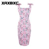 XAXBXC 2017 Verão Vestido Rosa de vidro garrafa de Vinho Bowknot Strap Backless 1950 s Vintage Bodycon Lápis Festa Vestido De Noite Das Mulheres