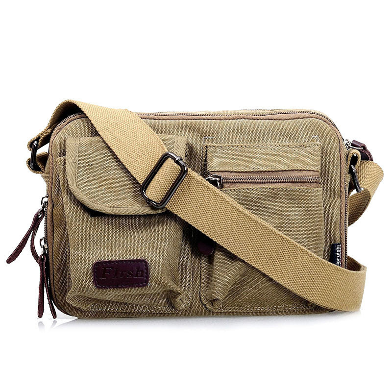 Vintage Men's Messenger Bag Casual Canvas Men Portable Small Capacity Crossbody Bags Travel Bag Military Crossbody Shoulder Bags aosbos fashion portable insulated canvas lunch bag thermal food picnic lunch bags for women kids men cooler lunch box bag tote