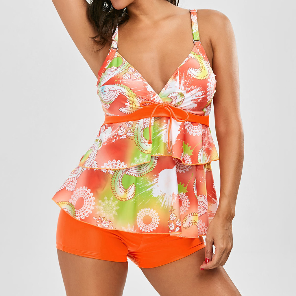 Women Draped Strap Orange Tankini Set With Boy Shorts Ladies Bikinis Swimwear Push-Up Padded Summer Beach Dress Swimsuit Biquins