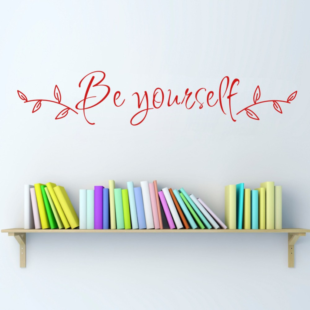 Be Yourself Inspirational Quote Wall Sticker Vinyl Lettering Kids Room Office Wall Decor Decals