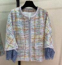 Womens high quality O-neck coat 2019 spring autumn elegant tweed jackets A417