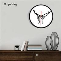 M.Sparkling large digital wall clock 11 INCH Nordic style diy creative elk black and white acrylic mute fashion wall clock