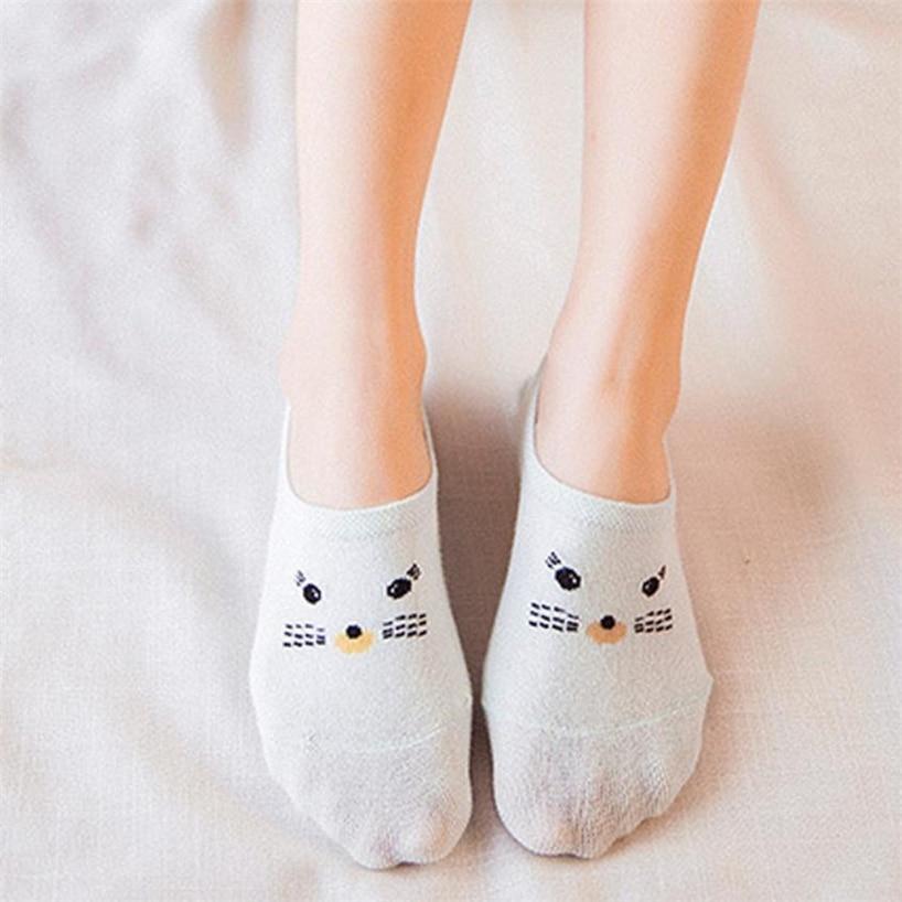 Women Socks Casual Work Business Cotton Cartoon Cat Fashion Sock Comfortable No Show Socks Non-slip 2018MAR28