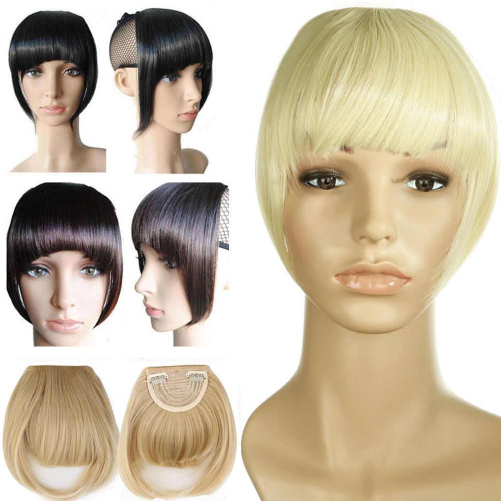 S-noilite короткие передние аккуратные челки Клип короткая челка для наращивания волос прямые синтетические 100% натуральные накладные волосы