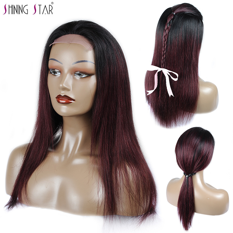 Shining Star Ombre Human Hair Wig 180 Density Straight Brazilian Black And Burgundy Lace Front Wig For Black Women 4X4 Non Remy