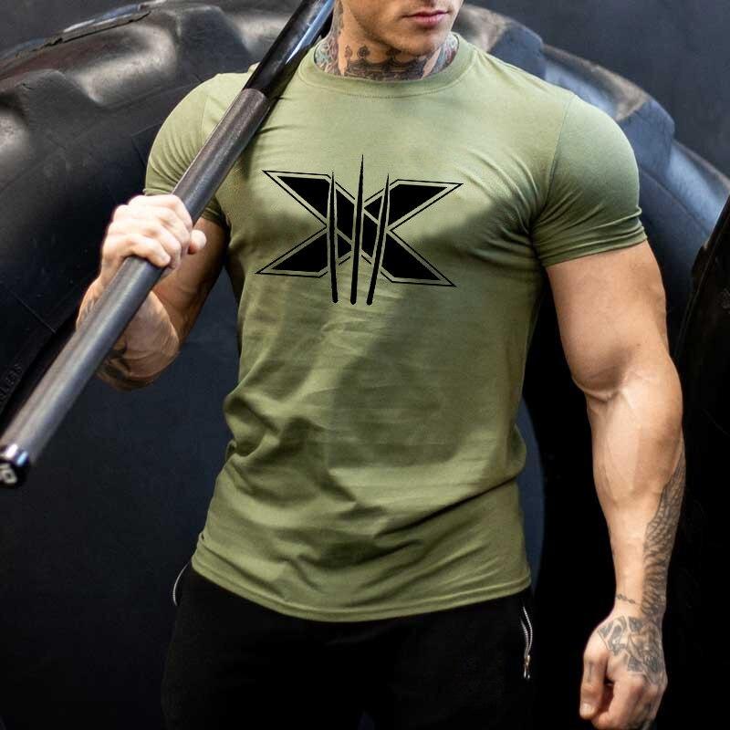 Brand Mens T-shirt Gyms Fitness T-shirt Bodybuilding Slim Shirts Printed O-neck Short Sleeves Cotton Tee Tops