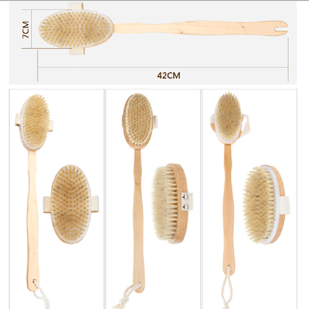 Bath Brush Long Wood Handle Reach Back Body Shower Bristle Scrubber ...