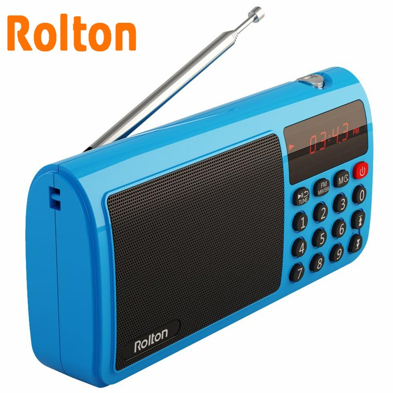 Rolton T50 TF Card Speaker Radio de banda mundial portátil FM / AM / SW Mp3 Speaker WAV reproductor de música y linterna para PC iPod Column