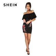 Шеин платье женский, черный пикантные с открытыми плечами Вышивка Платья для вечеринок Мода 2017 г. Роза Аппликация рюшами Элегантный облегающее платье мини