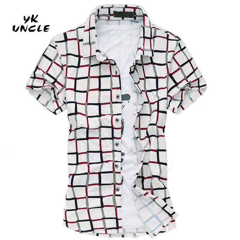 2016 여름 새로운 패션 칼라 남성 셔츠 짧은 소매 격자 무늬 슬림 맞춤 셔츠 남자 남자 디자이너 셔츠 옷 고품질, YK UNCLE